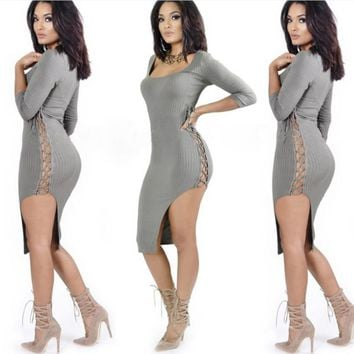 Fashion package hip sexy side open pit strip bandage cotton dress