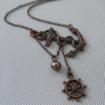 Lost at Sea Necklace by SBC, Antique Copper Anchor, Ship Wheel, AAA Peacock FW Pearl, Sideways Anchor, Anchor Jewelry, Lost at Sea Necklace
