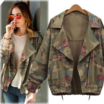 Autumn Women's Fashion Plus Size Batwing Sleeve Camouflage Slim Jacket [37752733722]