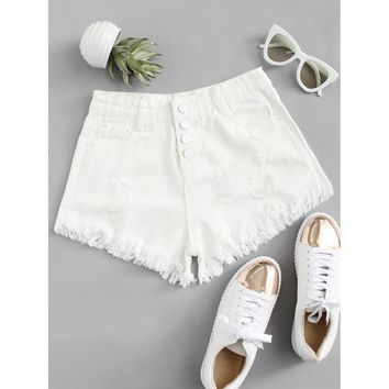 Button Up Raw Hem Denim Shorts