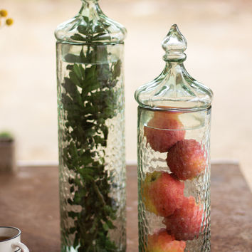 Hammered Glass Canister with Finial Lid- Large
