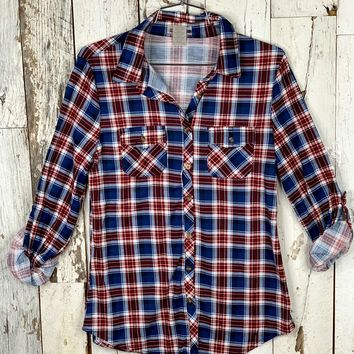 Penny Plaid Flannel Top - Blue/Ivory/Burgundy