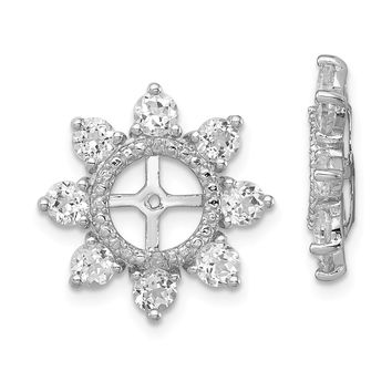 925 Sterling Silver Rhodium Diamond and White Topaz Earring Jacket