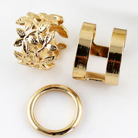 Gold Floral Crochet Three Pieces Rings - Sheinside.com