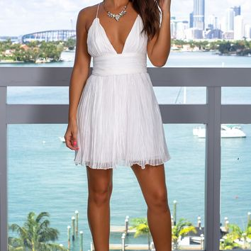 White Short Dress with Criss Cross Back