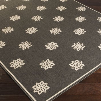 Alfresco Area Rug (Outdoor Rugs)   Black Medallion and Damasks Rugs Machine Made   Style ALF9608