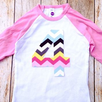 Girls chevron birthday shirt 1 2 3 4 5 6 for 1st 2nd 3rd Birthday Pink and White Raglan Rainbow Chevron Any Birthday Number pink blue yellow