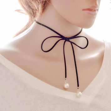 Women Simple Bow Clavicle Chain Necklace Collar Choker Jewelry
