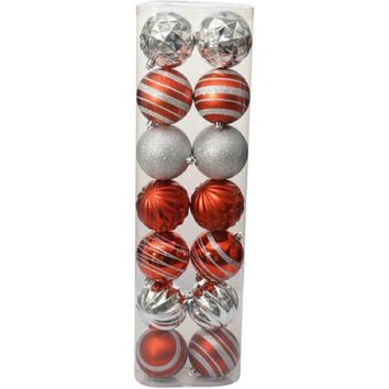 Holiday Time Christmas Ornaments Traditional 80mm Shatterproof, Set of 14, Red /
