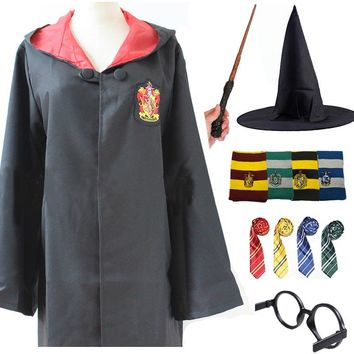 Kids Adult Gryffindor Robe Cloak Tie Scarf Ravenclaw Hufflepuff Slytherin for Harris Potter Cosplay Costume Clothing Halloween