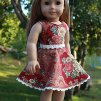 floral dress with skater/circle skirt and belt, 18 inch doll clothes, american girl, maplelea