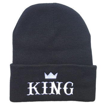 KING Beanie Warm Winter Embroidered Knitted Mens Black Cuffed Skully Hat