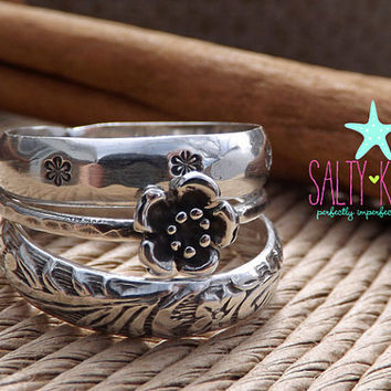 Bloom Ring - Sterling Silver stacking ring set of 3, wide and thin bands floral antique baroque stackers stackable  Mother's Day jewelry