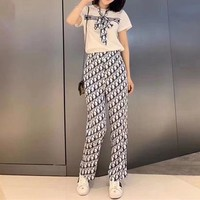 Dior Round Neck T-shirt Short Sleeve Broad-legged trousersFashion Two-Piece Suit Clothes