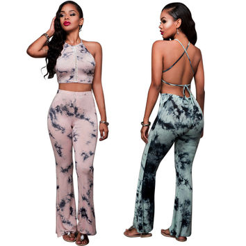 LURRSN 2017 New Women Two Pieces Suit Pants Set Outfits Croptops for Women Spring Summer Sexy Backless Set Clothing Elegant