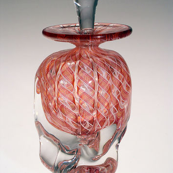 Peach Zanfirico by Mary Mullaney Ralph Mossman: Art Glass Perfume Bottle | Artful Home