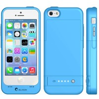 i-Blason Apple iPhone 5C [MFI APPROVED] PowerGlider Rechargeable External Battery Full Protection Case [iOS 7 Compatible] with Micro 5 Pin USB Charging Port - AT&T, Sprint, Verizon. T-Mobile (Blue)