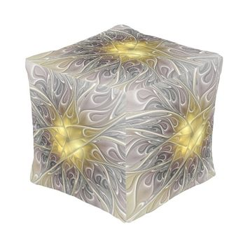 Flourish With Gold Modern Abstract Fractal Flower Pouf