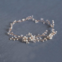 Fashion Floral Gold bridal hair accessories Handmade Pearl Hair Jewelry Wedding Accessories Headband Women Headpiece