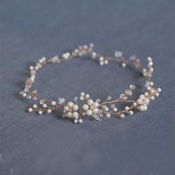 New Handmade Pearl Bridal Hair Wreath Wedding Accessories Gold Crystal Headband Women Headdress