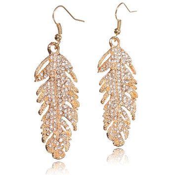 Bridal Crystal Feather Drop Earrings