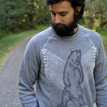 Mens sweatshirt | unisex pullover - grizzly bear on heather gray eco-fleece - gift for him | mens fashion - Ursa Major by Blackbird Tees