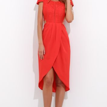 Sweet Affection Midi Dress Red