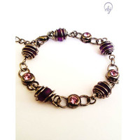 Wire Wrap Purple Bead And Purple Crystal Bracelet - Upcycle Jewellery, British (UK) Jewellery Design