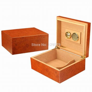 Hot Portable Cedar Wood Wooden Cigar Humidor Office Travel Cigarette Cigar Storage Box with Digital Hygrometer and humidifier