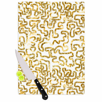 "Anneline Sophia ""Squiggles in Gold"" Yellow White Cutting Board"