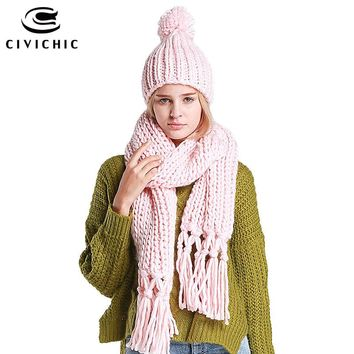 CIVICHIC 7 Colors High Quality Handmade Scarf Hat Two Piece Set Crochet Tassel Twist Long Thicken Warm Shawl Chic Headwear SH105