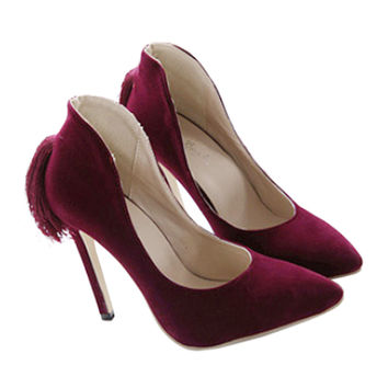 Back Heel Tassel Pointed Thin High Heel Low-cut Wedding Shoes   wine red