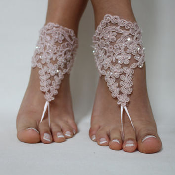 Beach Wedding,Barefoot Sandals,Pink Lace Bridal Anklet,Wedding Shoes,Wedding Sandals,Foot Jewelry