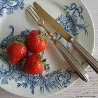 Vintage fruit knives and forks, set of six silver plate and copper fruit knives, fruit cutlery