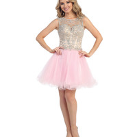 Pink & Nude Beaded Open Back Chiffon Dress 2015 Homecoming Dresses