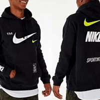 Nike Classic Fashion Women Men Casual Print Hooded Velvet Sweater Top Sweatshirt