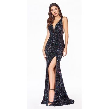 Long Fitted Sheath Sequin Gown Black Illusion Sides Deep Plunging Neckline