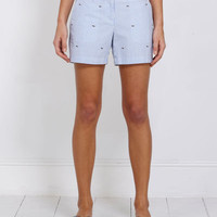 Women's Shorts: Whale Embroidered Seersucker Shorts for Women - Vineyard Vines