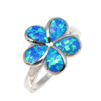 925 Sterling Silver Rhodium Hawaiian Plumeria Flower Blue Opal Ring Size 5-10