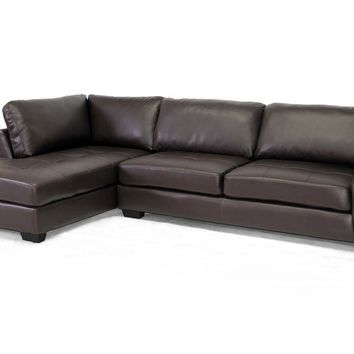 Baxton Studio Orland Brown Leather Modern Sectional Sofa Set with Left Facing Chaise Set of