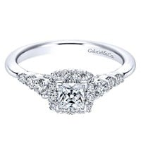 14K White Gold .80cttw Petite Princess Cut Halo Diamond Engagement Ring