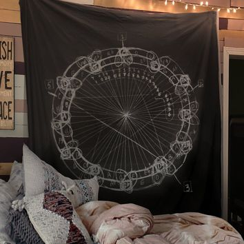 John Coltrane Circle of Fifths - Sacred Geometry Tapestry-Black