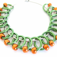 Extra Small Sock stitch markers   Knit stitch marker   Stitchmarkers for socks   Knitting tool   green rings; orange beads   #0549