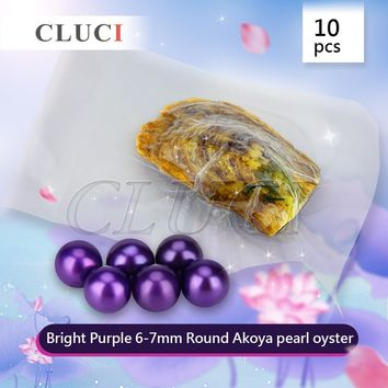 CLUCI AAA grade 10pcs 6-7mm round akoya Bright Purple pearl in oyster For fashion jewelry Necklace Making, individually wrapped