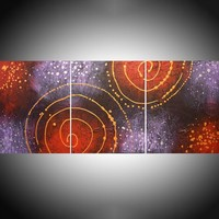 "View: large triptych metallic wall art gold silver abstract original painting galaxy "" Cosmic Symphony 2 "" canvas purple crimson red - 48 x 20 inches 