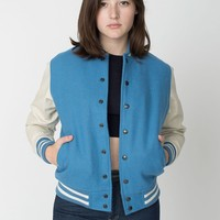 rsawn402w - Unisex Club Jacket with Leather Sleeves