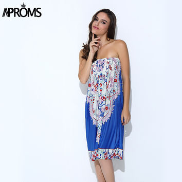 Aproms Boho Summer Women Dress Sexy Sundresses Off Shoulder African Ethnic Floral Print Tunic Beach Dresses Big Size SunDress