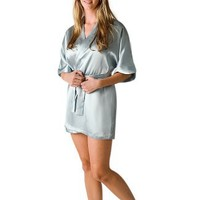 Del Rossa Women's Short Classic Satin Lounge Robe