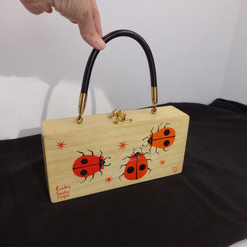 Enid Collins Box Bag Lucky LadyBugs Wooden Purse pre 70s Enid Collins EC made in Texas 1950s or 60s Vintage Enid Collins Good Condition