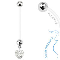 Heart Gem Dangle 14g BioFlex Maternity Pregnancy Pregnant Navel Bio Flex Navel Belly Ring- Choose Red, Pink, or Clear (Clear)